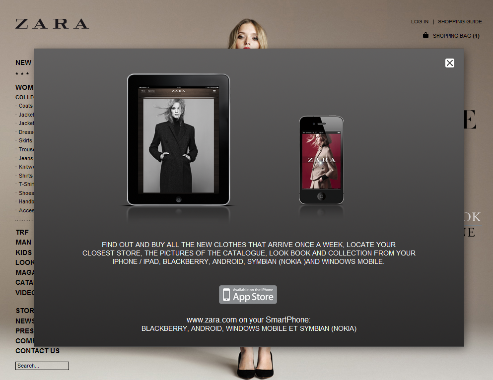 Mobile support and channels for the Zara e-commerce