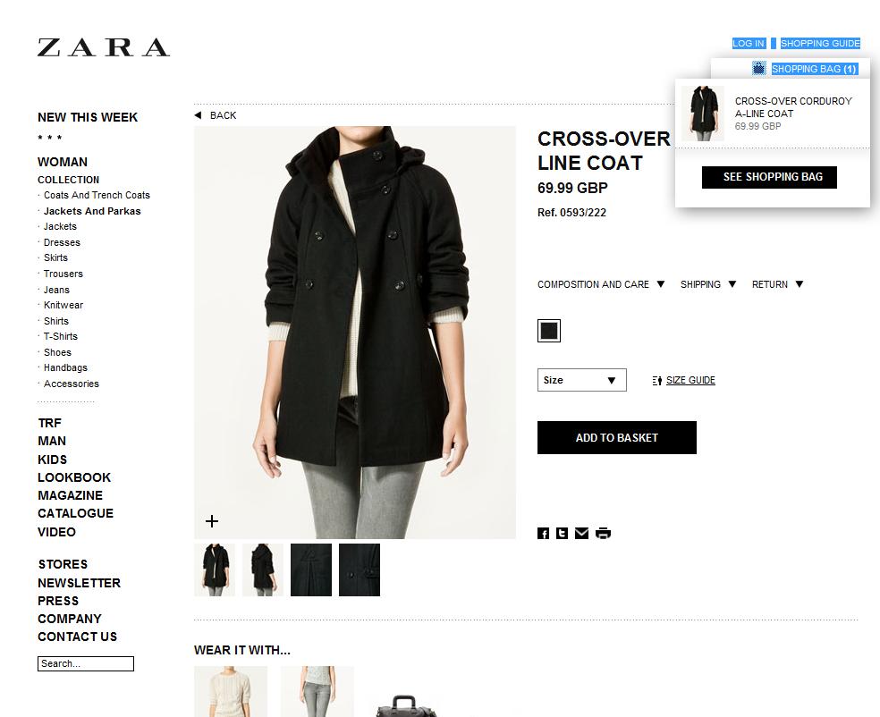 product page at Zara UK