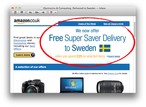 amazon free delivery sweden